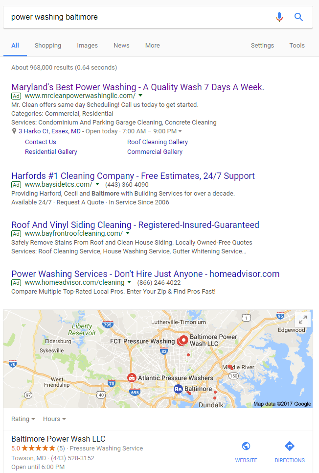 Google search engine result for: power washing baltimore | Search Engines Other Than Google