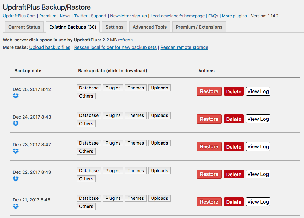 UpdraftPlus Backup Restore