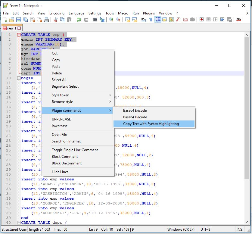 Notepad++ copy text with syntax highlighting nppexport plugin