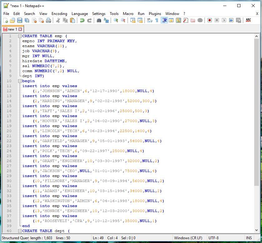 notepad++ SQL sript