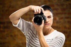 Caucasian female photographer