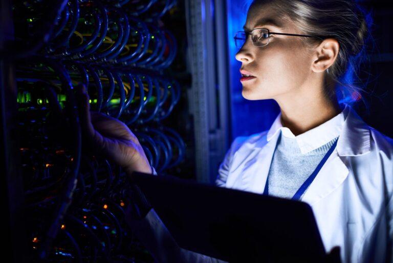 Female Computer Scientist Checking server