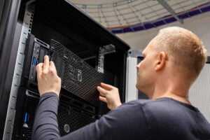 IT Consultant Working With Servers In Large Enterprise Datacenter