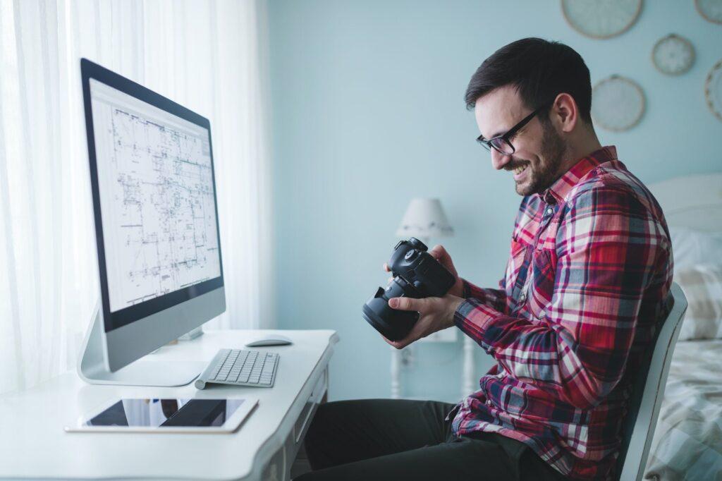 Photographer retoucher working on photos