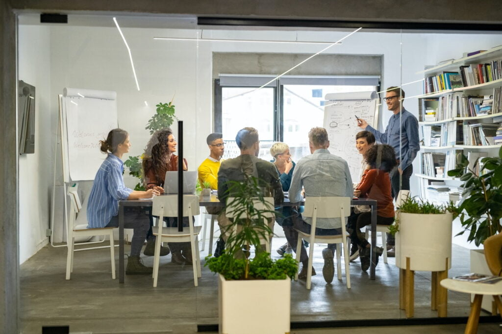 Happy casual business team in meeting