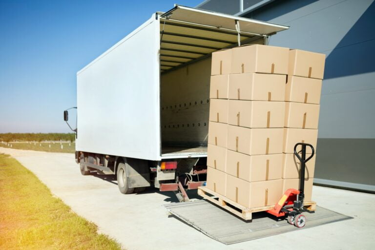 Truck carrying cargo for export